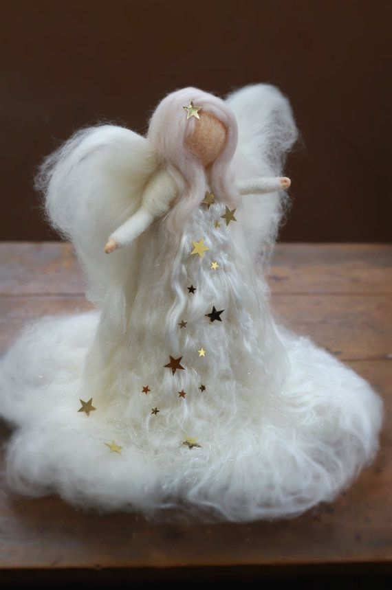 Needle Felted, Christmas, Tree Top, Angel, Heirloom, Tree topper, Waldorf, White, Xmas,Nativity, White,Gold Stars,Silk,Wool