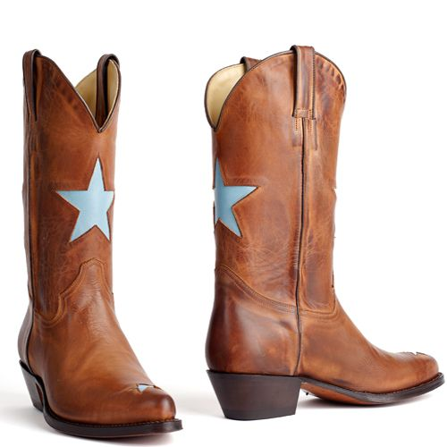 Star western boots Tony Mora celeste with brown. International shipping -> free shipping in Europe. E-mail us! http://www.boeties.nl/tony-mora-boots-rony-totem-celeste-2135