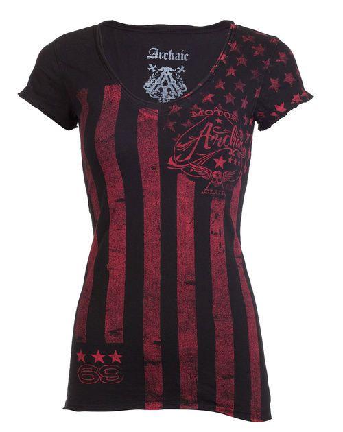 Archaic AFFLICTION Womens T-Shirt NATION Tattoo Biker USA FLAG Sinful S-XL $40 a #Affliction #GraphicTee