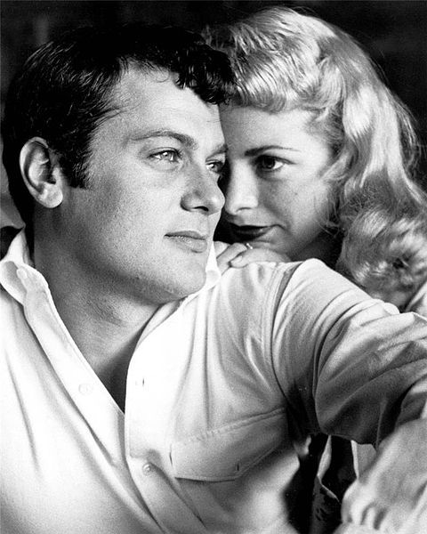 """Tony Curtis & wife Janet Leigh. Style, glamour, looks. old Hollywood style & lets not forget he & Jack Lemmon pretended to be """" women"""" in Some Like it Hot- with Marilyn Monroe..and then you may know his daughter..Jamie Lee"""