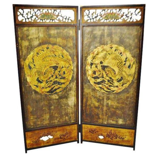Antique Chinese Phoenix Design 2 Panel Folding Screen Room Divider (33.954.430 VND) ❤ liked on Polyvore featuring home, home decor, panel screens, screens & room dividers, panel folding screen, wooden room dividers, folding screen, wooden screen and 3-panel wood folding screen