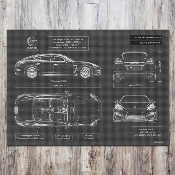 Porsche Panamera 970 2009 2016 Personalized Car Wall Art Etsy Car Wall Art Blueprints Car Enthusiast Gift