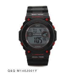 Jam Tangan Pria Digital Hitam-Merah QnQ Digital : M140J001Y