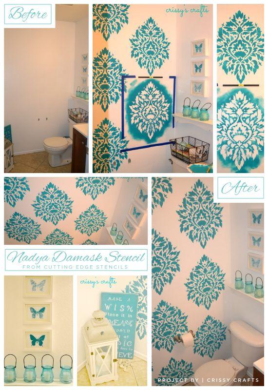 A Nadya Damask Stenciled Blue Bathroom Idea! Http://www.cuttingedgestencils.