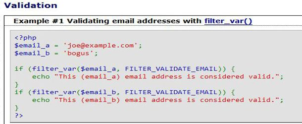 validate an email address in PHP