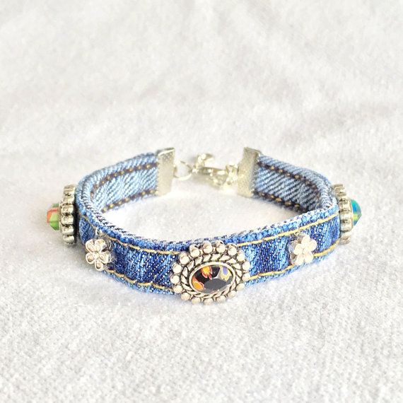 Denim Beaded Wrap Jean Bracelet Recycled Upcycle by EverydayWomen