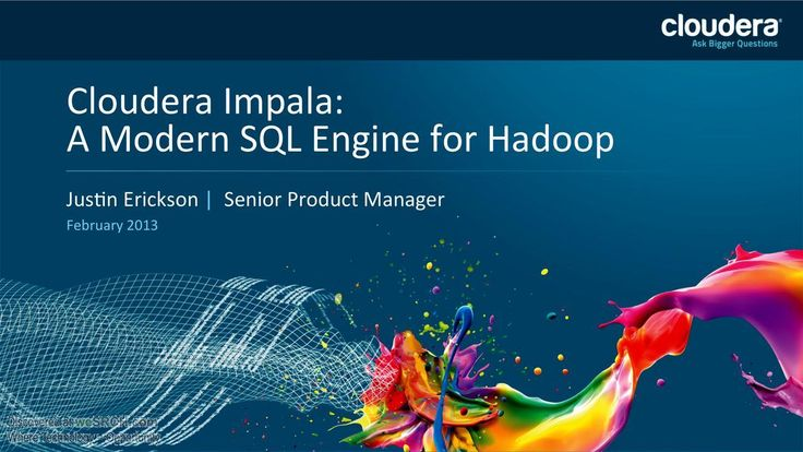 Cloudera Impala: A Modern SQL Engine for Hadoop. Agenda of this presentation is to know why impala, Architectural overview, Alternative approaches, project status. Why Hadoop? Scalability - Simply scales just by adding nodes, Local processing to avoid network boTlenecks, Flexibility - All kinds of data (blobs, documents, records, etc)In all forms (structured, semi structured, unstructured), Store anything then later analyze/process what you need, Analyze/process the data how you need to.