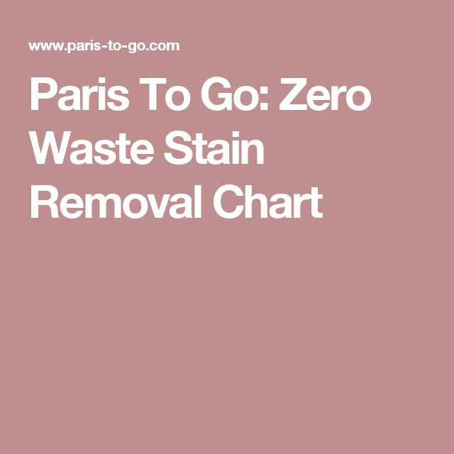 Paris To Go: Zero Waste Stain Removal Chart