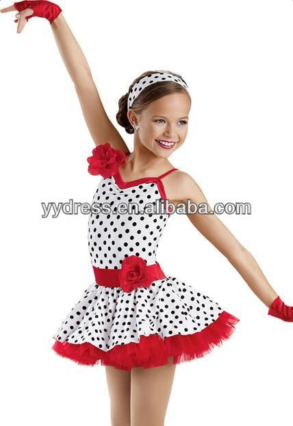 Red Edgeways Black Polka Dots Pettiskirt Dress Costume White spandex leotard Black polka dots Red edgeways Colours changable
