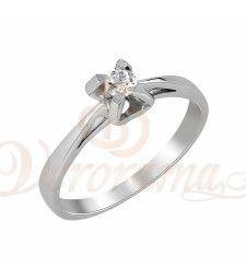 Μονόπετρo δαχτυλίδι Κ18 λευκόχρυσο με διαμάντι κοπής brilliant - MBR_011