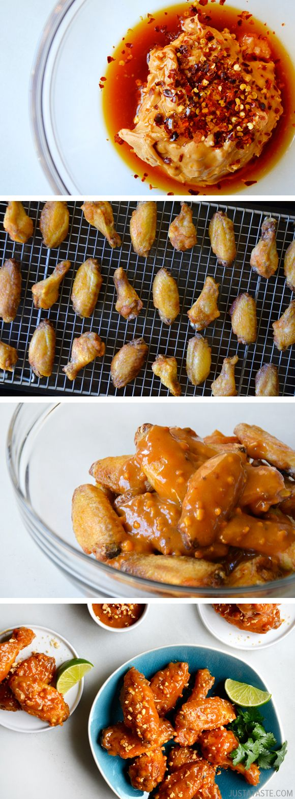 Crispy Baked Thai Chicken Wings with Peanut Sauce #recipe