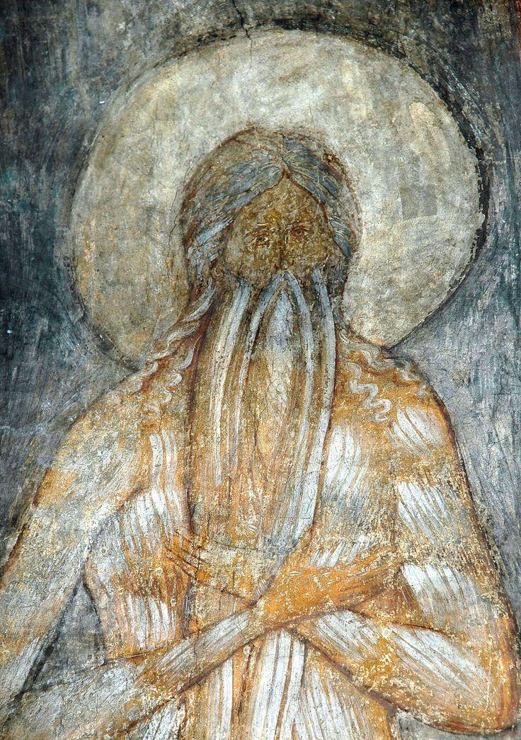 """Андрей Рублёв. """"Макарий Египетский"""". Фрагмент. 1408. Успенский собор, Владимир."""