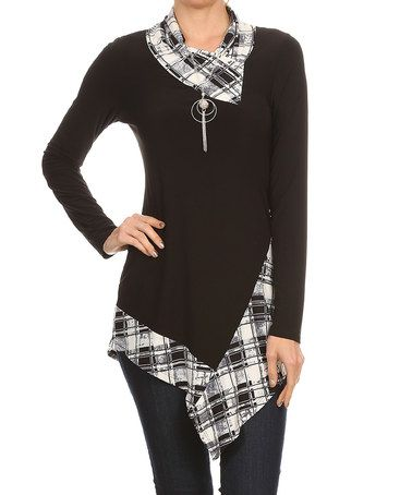 Look at this #zulilyfind! Black & White Plaid Cowl-Neck Asymmetrical Top #zulilyfinds