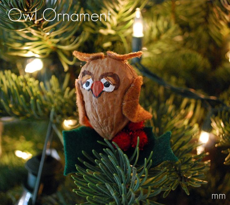 Harry Potter fans are sure to approve of a tree filled with owls.  This cute little hoot is made from a walnut -- such a budget-friendly wa...