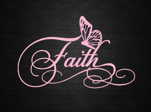 Faith with butterfly scroll fancy decal car decal window decal customize computer window decal