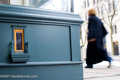 urban fairy door on the street