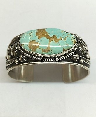Native-American-Navajo-Sterling-Silver-Number-8-Turquoise-Cuff-Bracelet-Amazing