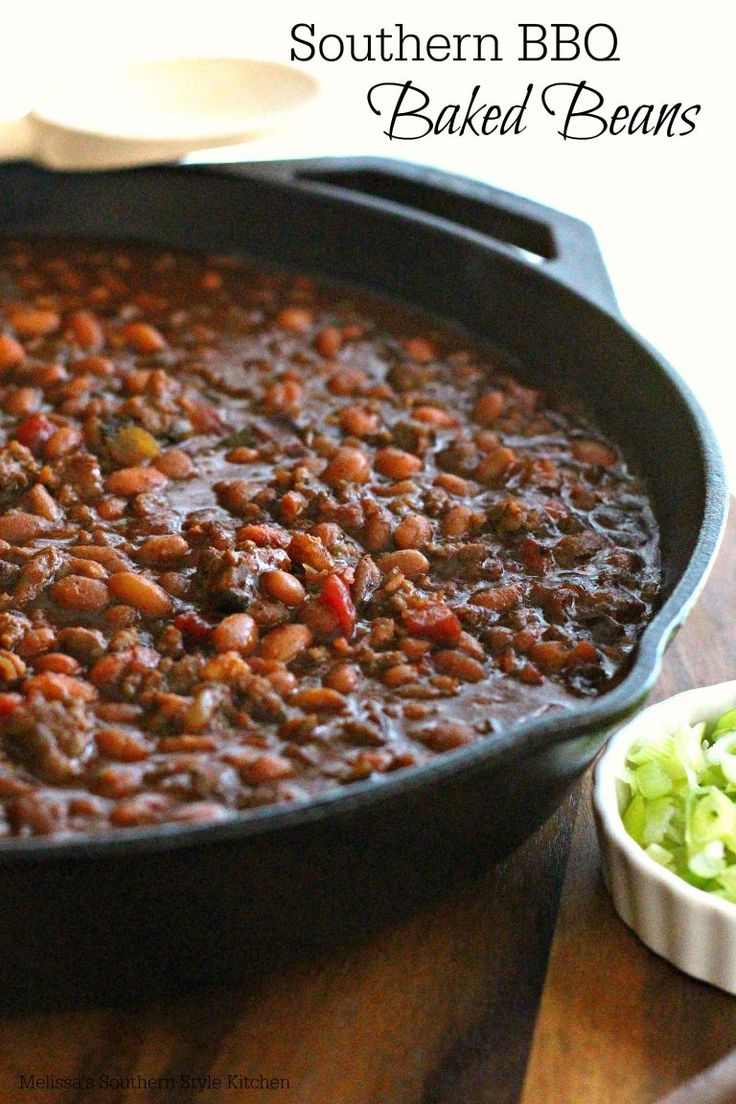 Southern Barbecue Baked Beans. This recipe contains ground beef.