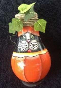hand painted kitty in jacko lantern halloween ornament on recycled light bulb - Halloween Light Bulbs
