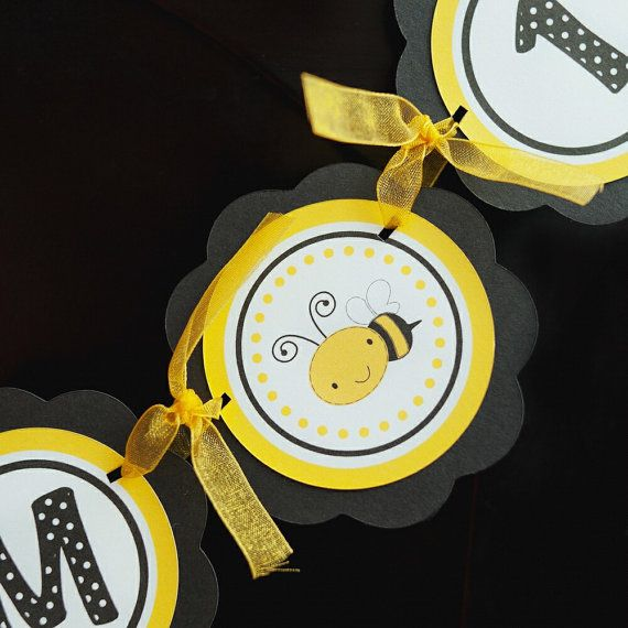 BannerParties Decorations, Happy Birthday Parties, 1St Birthday, Bees Birthday Parties, Birthday Party Decorations, Parties Signs, Birthday Parties Decor, Minis Banners, Black Happy