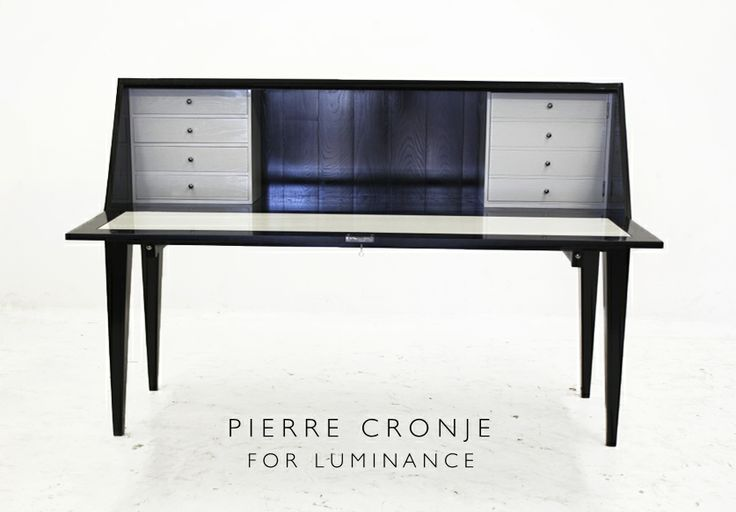 Pierre Cronje for Luminance Writing Desk in Prime Ash, dark exterior with white interior.