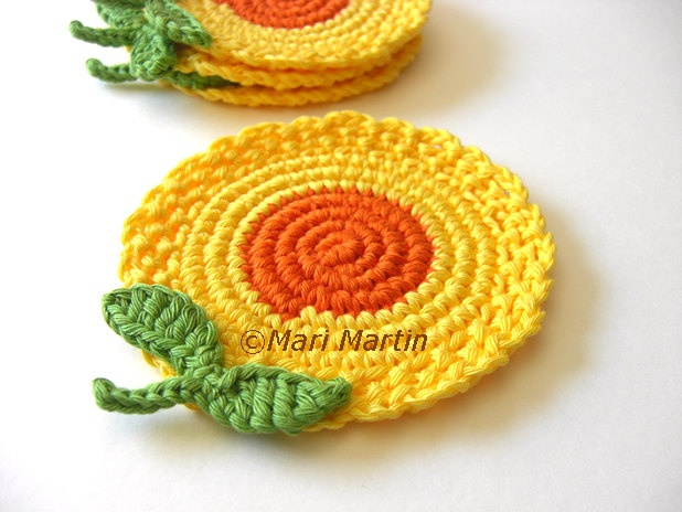 Yellow Orange Flowers Crochet Coasters . Honey Mustard Golden Sun Leaves Decor Crochet Spring Garden Collection - Set of 4. $24.00, via Etsy.