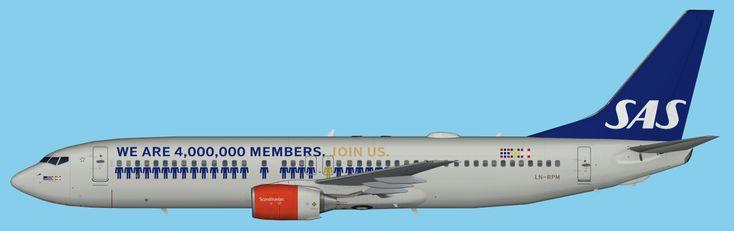 SAS Scandinavian Airlines Boeing 737-800 4.000.000 Eurobonus Members FSX