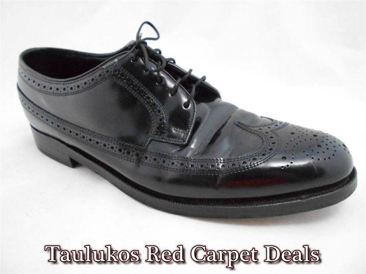 FLORSHEIM Classic Wingtip Dress Oxfords Gunboats Black Leather Mens #shoes  9.5 M