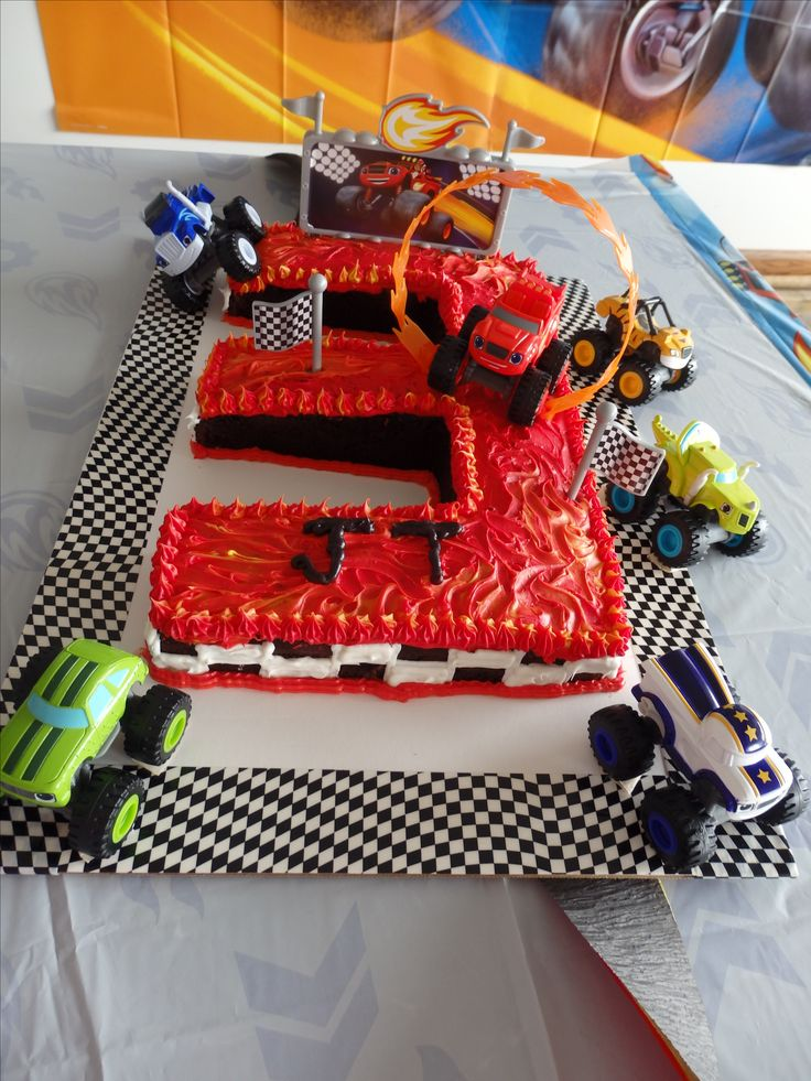 Super cool Blaze and the Monster Machines birthday cake you can make yourself at home!