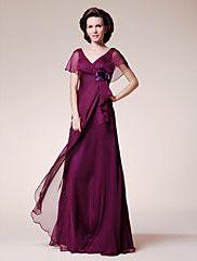 Lanting Bride® Linea-A Taglia forte / Minuta Abito da cerimonia per signora Lungo Manica corta Chiffon - Fiore (i) / Con balze – EUR € 220.50