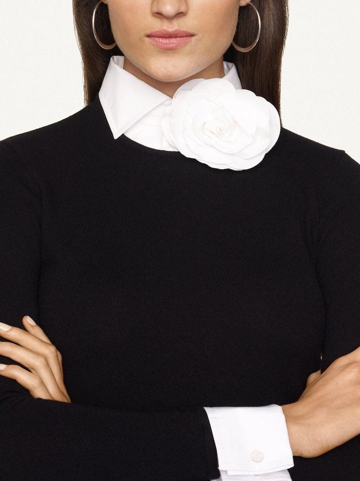 Ralph Lauren cashmere - love the white cuff, collar, rosette