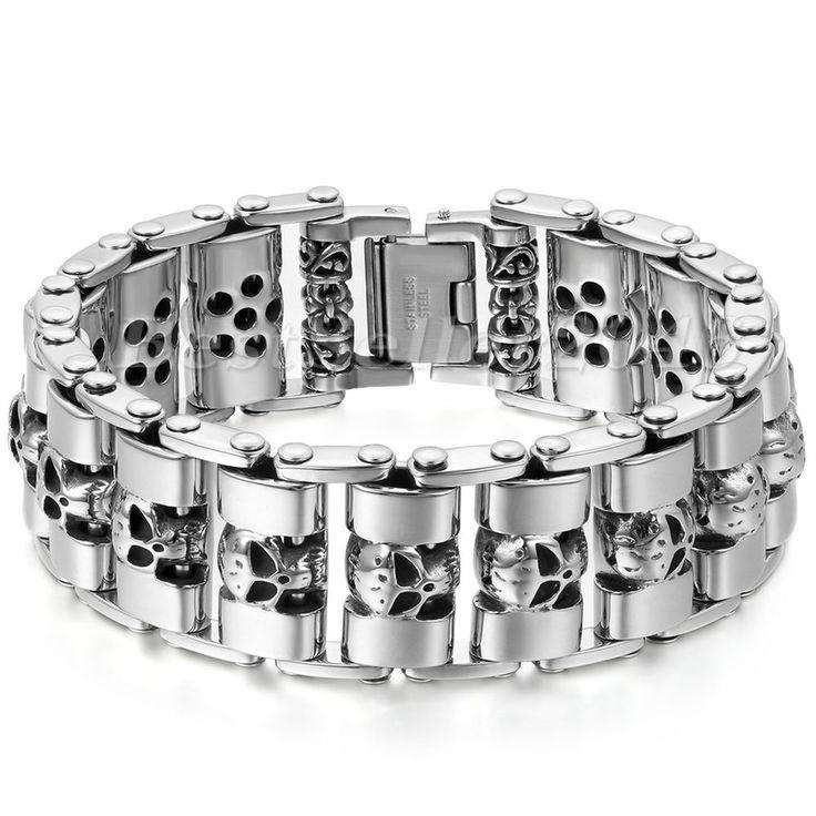 JewelryWe Stainless Steel Biker Gothic Skull Bracelet for Men Birthday Halloween Gift yLd7F