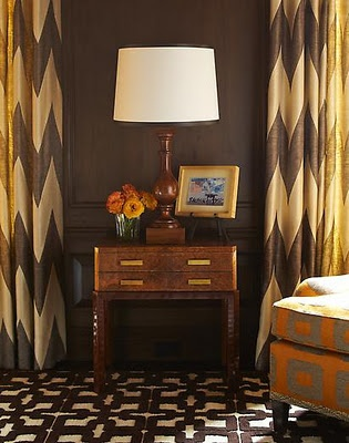 curtains: Interior Design, Chevron Patterns, Color, Decorating Ideas, Living Room, Brown, Window Treatments, Steven Gambrel, Chevron Curtains