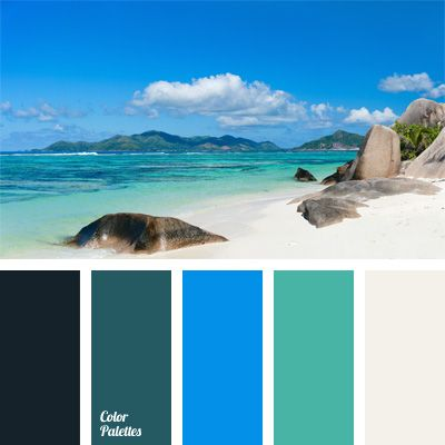 "Saturated color combination of blue and sky blue shades of sea water and white sand color. This color scheme may be suitable for bathroom design or living room with large windows overlooking the sunny side. This color combination will look organically in festive woman's wardrobe, especially in its ""lite"" version (for example, a cocktail dress)."