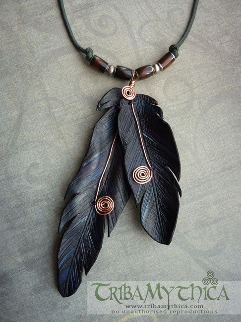Leather Feather & Copper Wire Necklace – Black Rav…