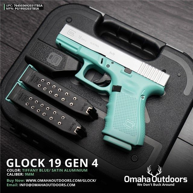 Glock 19 Gen 4 Tiffany Blue 9mm 15 RDS 4.02″ Handgun - Omaha Outdoors