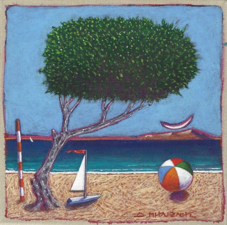 "Dimitris C. Milionis - ""Tree  Boat"" - Original Acrylic Painting Signed Greek #Modernism"