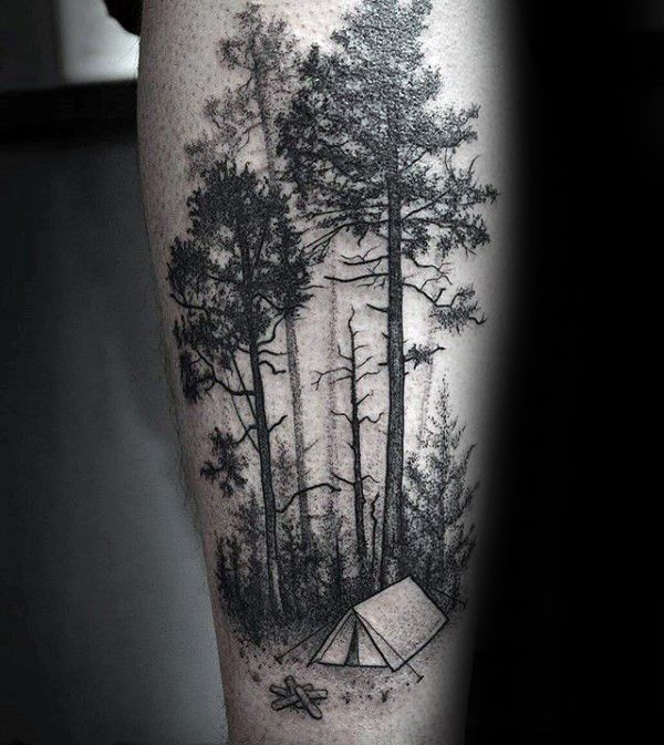 mens camping tent in forest arm tattoos tattoo. Black Bedroom Furniture Sets. Home Design Ideas