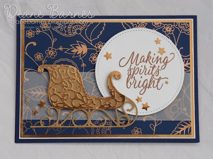 Christmas sleigh card using Stampin Up Santa's Sleigh stamp & die bundle, and Tin of Tags stamp set. By Di Barnes #colourmehappy 2016 holiday catalogue