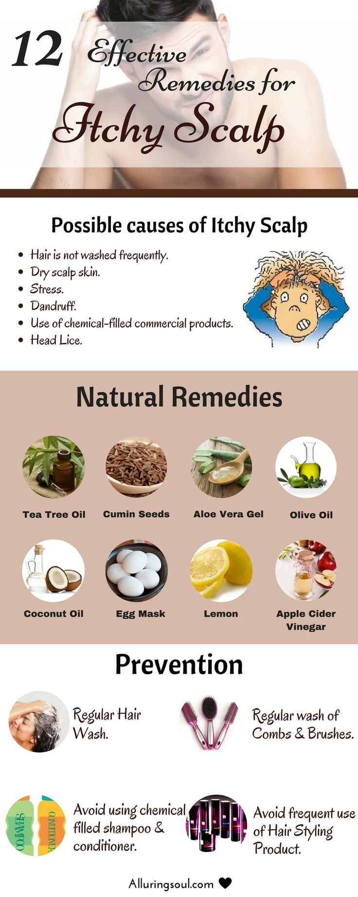 Remedies for itchy scalp - Itchy scalp can be embarrassing and frustrating because it's not always easy to determine the cause. For relief check out natural remedies for itchy scalp.