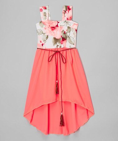Neon Coral Floral Belted Hi-Low Dress - Girls #zulily #zulilyfinds