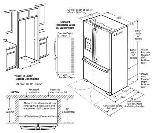 REFRIGERATOR DIMENSIONS FLOOR PLAN - Google Search