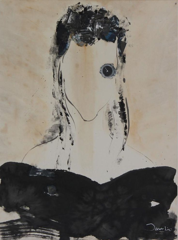 Flower Like Year II, 2001, 56x71cm<br> Ink/mixed media on rice paper/canvas