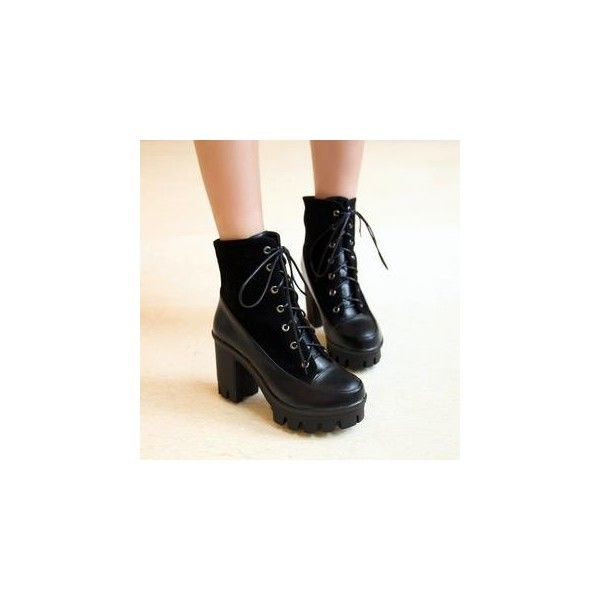Lace-Up Ankle Boots (€51) ❤ liked on Polyvore featuring shoes, boots, ankle booties, black, heels, footware, black heel booties, high heel ankle booties, high heel booties and lace-up ankle boots