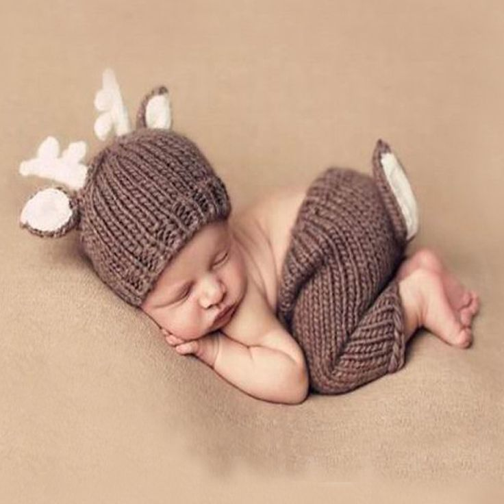 Santa Clause Gifts Handmade Crochet Deer Costume Set Knitted Hats and Pants Newborn Photography Props Photo Shoot
