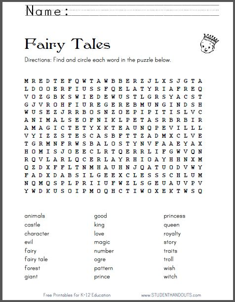 fairy tale terms word search puzzle free to print. Black Bedroom Furniture Sets. Home Design Ideas