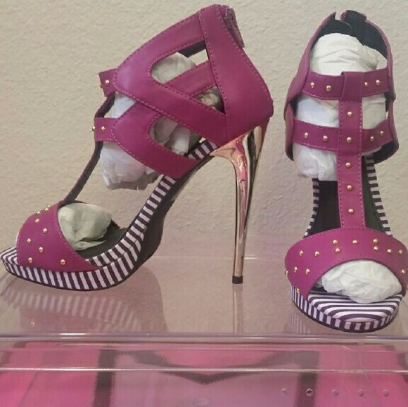 Cute Purple Heels Purple strappy high heel sandals with striped purple and white bottoms and gold heel Shoes Heels