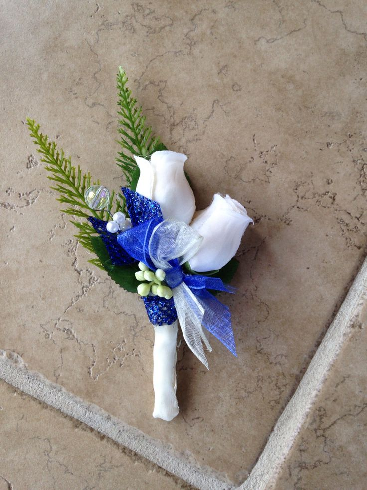 Boutonniere in Royal blue from Hen House Designs