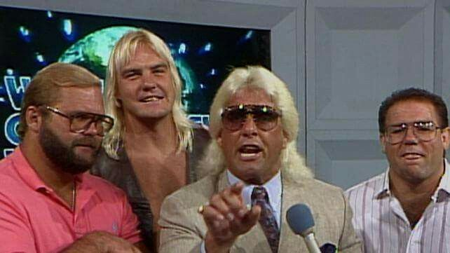 The legendary HOF iconic Four Horsemen of professional wrestling: Nature Boy Ric Flair, Barry Windham, Double A Arn Anderson, and Tully Blanchard.   1. Best in the World  2. Best heel turn ever & most naturally gifted ever  3. Best in the World Tag Team