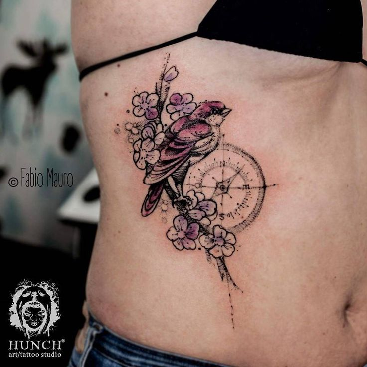 Sketch work style bird, cherry blossom branch and compass tattoo on the right side. Tattoo Artist: Fabio Mauro